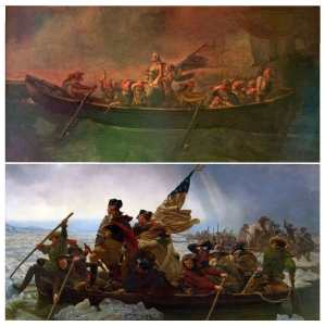 """Comparison of the famous """"Washington Crossing the Delaware"""" and the painting of Bouboulinas troops in a boat. The layout of the image is near-identical."""