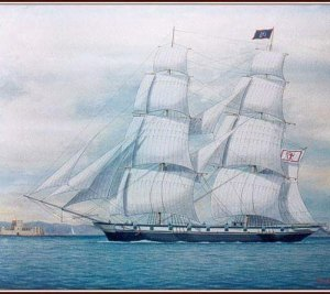 A painting of an elegant sailing ship.