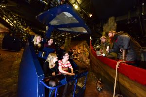 Visitors ride a gondola-style ride past mannequins representing Viking residents of 10th century Jorvik