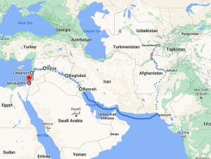 Approximate route of the Chaminov family - From Samarkand through Afghanistan, Iraq, Iran, Syria, Lebanon, Jordan and finally to Jerusalem