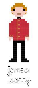James Barry cross stitch pattern in pixel style