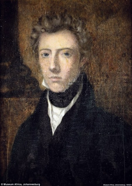 Portrait of a person in black frock coat, high collar, with pale skin, light hair styled in a masculine style.