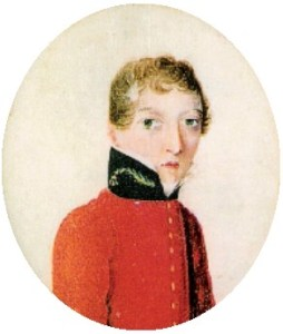 Portrait of James Barry in military red uniform jacket, high collar, with short light hair.