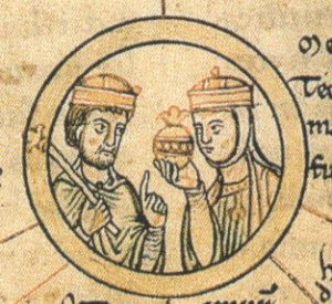 King Henry and Queen Matilda, line drawing style illustration from a 12th century manuscript