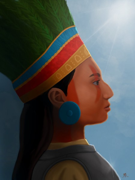Zazil-ha in profile wearing a gold, red and blue headdress with green feathers, silver earrings, and silver armor breastplate.