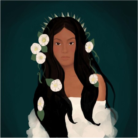 Painting of Xtabay - a woman in a white off-the-shoulder dress, with long flowing black hair, dark skin, and white flowers in her hair. By Michelle Franzoni Thorley
