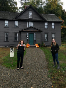 Katie and Jan Turnquist in front of Orchard House