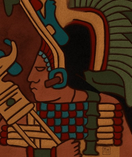 Traditional Maya-style portrait of a woman wearing elaborate headdress and colorful tunic