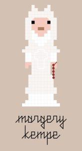 Margery Kempe pixel-style cross stitch pattern