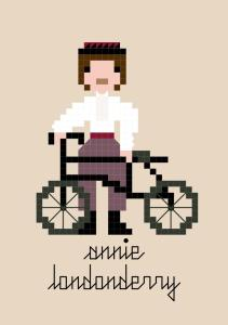 Pixel-style cross-stitch pattern of Annie Londonderry with her bicycle