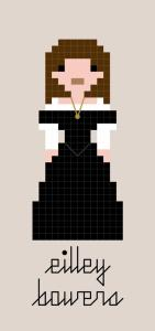 A pixel-style cross-stitch pattern of Eilley Bowers