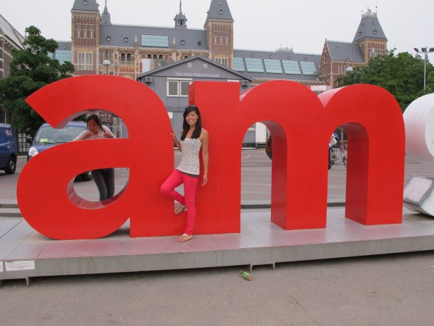 "Me in front of the ""am"" in the giant ""iAMsterdam"" sign. You know. My initials??"