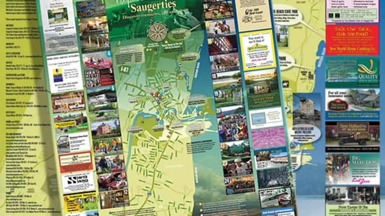 Tourism map design created for Village of Saugerties