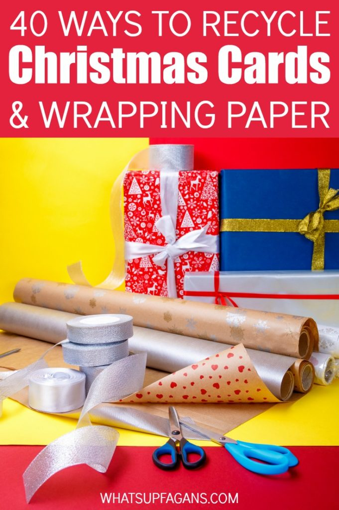 Great list of ideas on what to do with Christmas cards and wrapping paper after the holidays are over! Christmas Card Crafts, keepsakes, gift tags, ornaments, boxes, and other great ideas on how to recycle Christmas cards and reuse wrapping paper.
