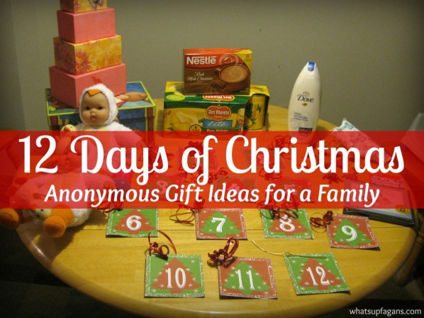 Great way to create some Holiday magic for a family in need! Anonymous Gift giving for the 12 Days of Christmas!