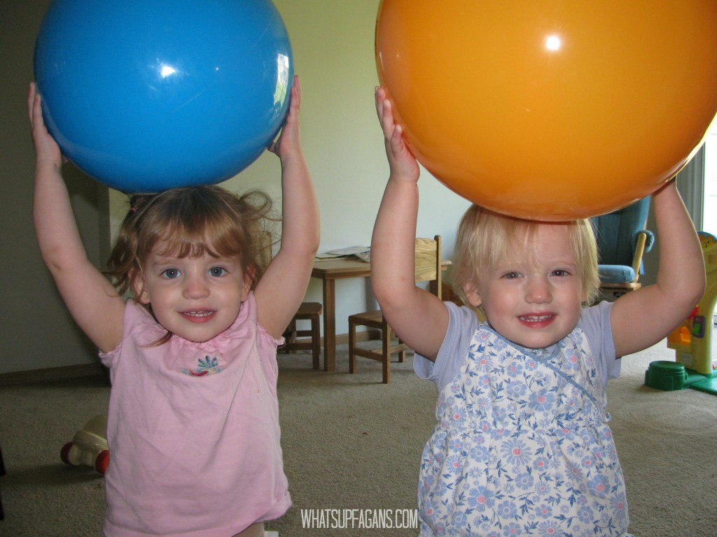 Twins second birthday party gift idea - balls!