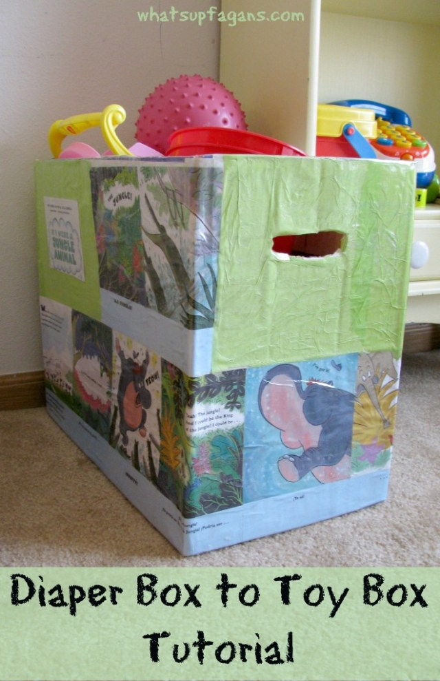 What a fun easy craft to reuse diaper boxes! It's such a cute toy bin!