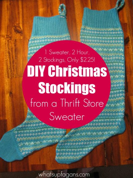 Making a Christmas Stocking from a sweater is so easy! She did it in 2-3 hours and for only $2.25! One sweater made two stockings!