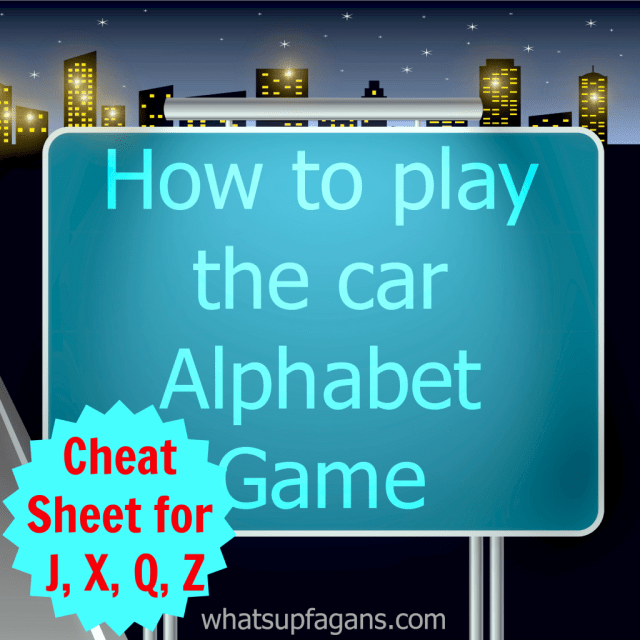 I love the car alphabet game! I appreciate the sheet cheat for the hard letters J, X, Q, and Z!