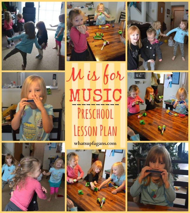 M is for Music - Complete Preschool Lesson Plan! Craft, games, music, and snack ideas! whatsupfagans.com