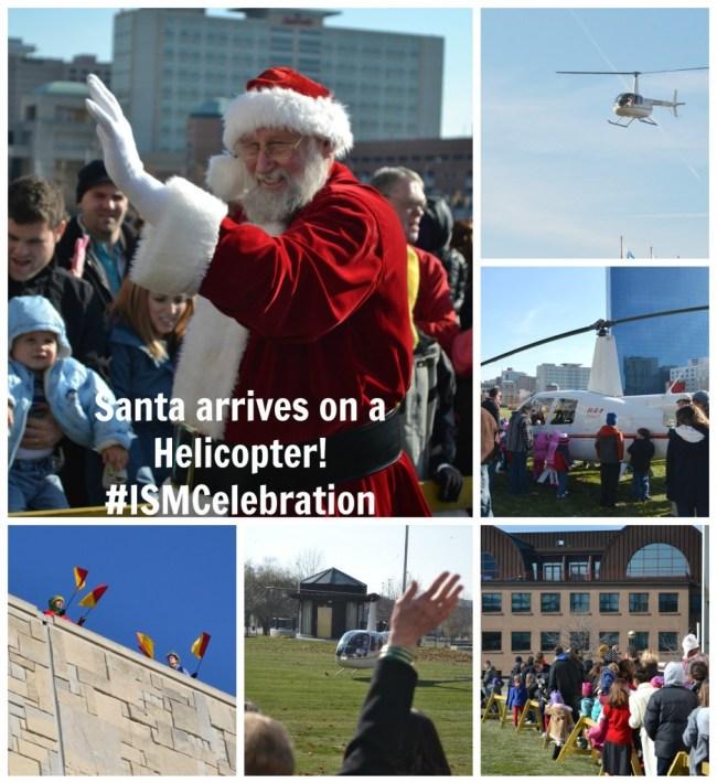 Santa arrives on a helicopter #ISMCelebration