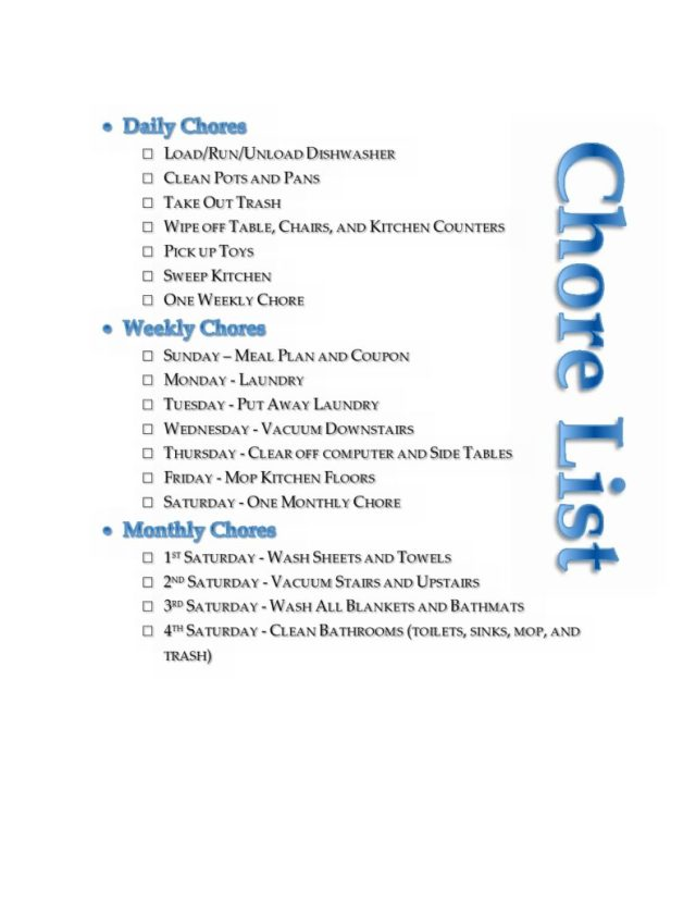 Free Editable Chore Chart Printables - A Great template to use for your household Chore List - Daily, Weekly, and Monthly cleaning and organizing check list. Simple and Easy!