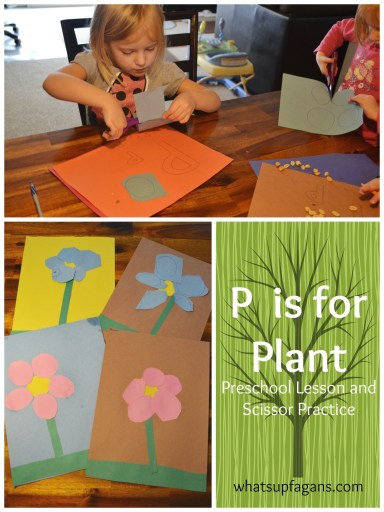 P is for Plant Preschool Lesson and scissor practice! whatsupfagans.com