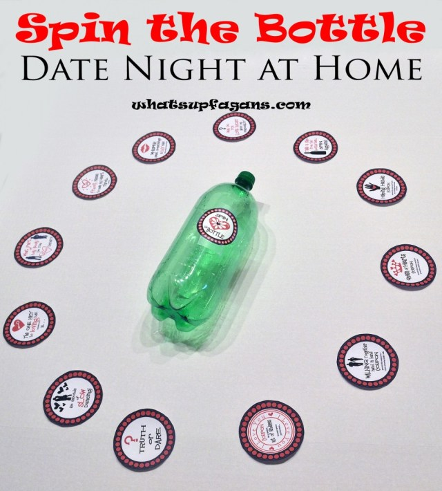 Spin the Bottle Date Night at home - Create some excitement with this date night in (as part of a year of dates gift idea) and some fun! whatsupfagans.com