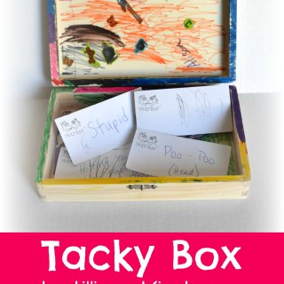 """Tacky Box instills and teaches kindness. Kids put """"tacky"""" words they hear into the box, never to use them again! #tackyboxkindness 