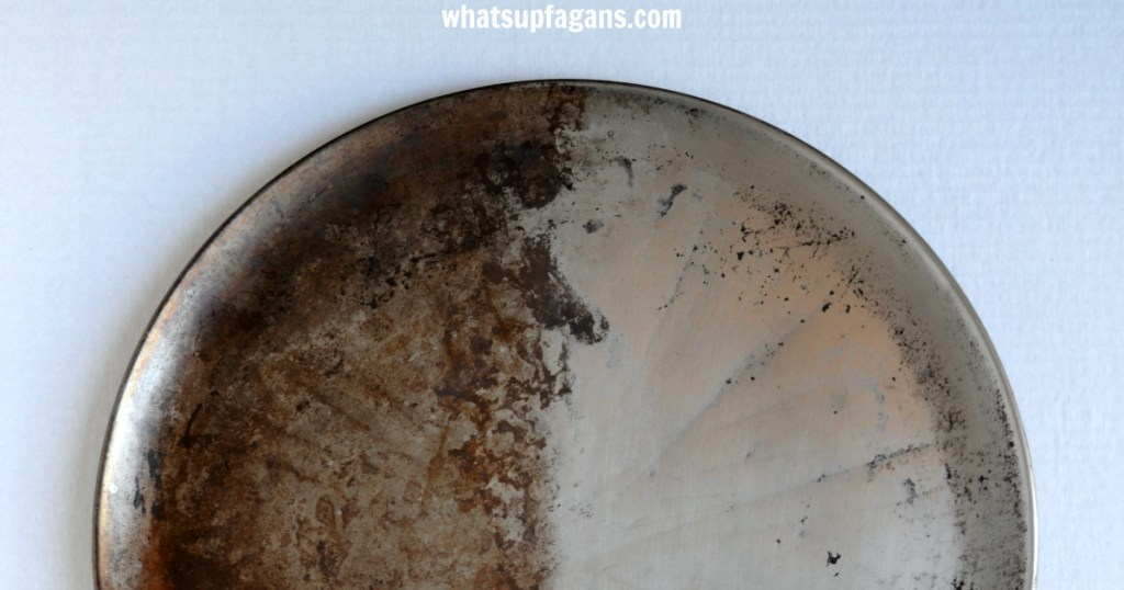 Before and After of cleaning stainless steel pizza pan with Bar Keepers Friend