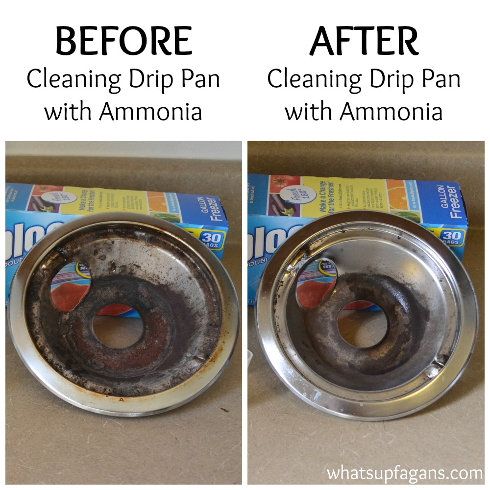 Tutorial on how to clean burner pans with ammonia - a before and after comparison. | whatsupfagans.com