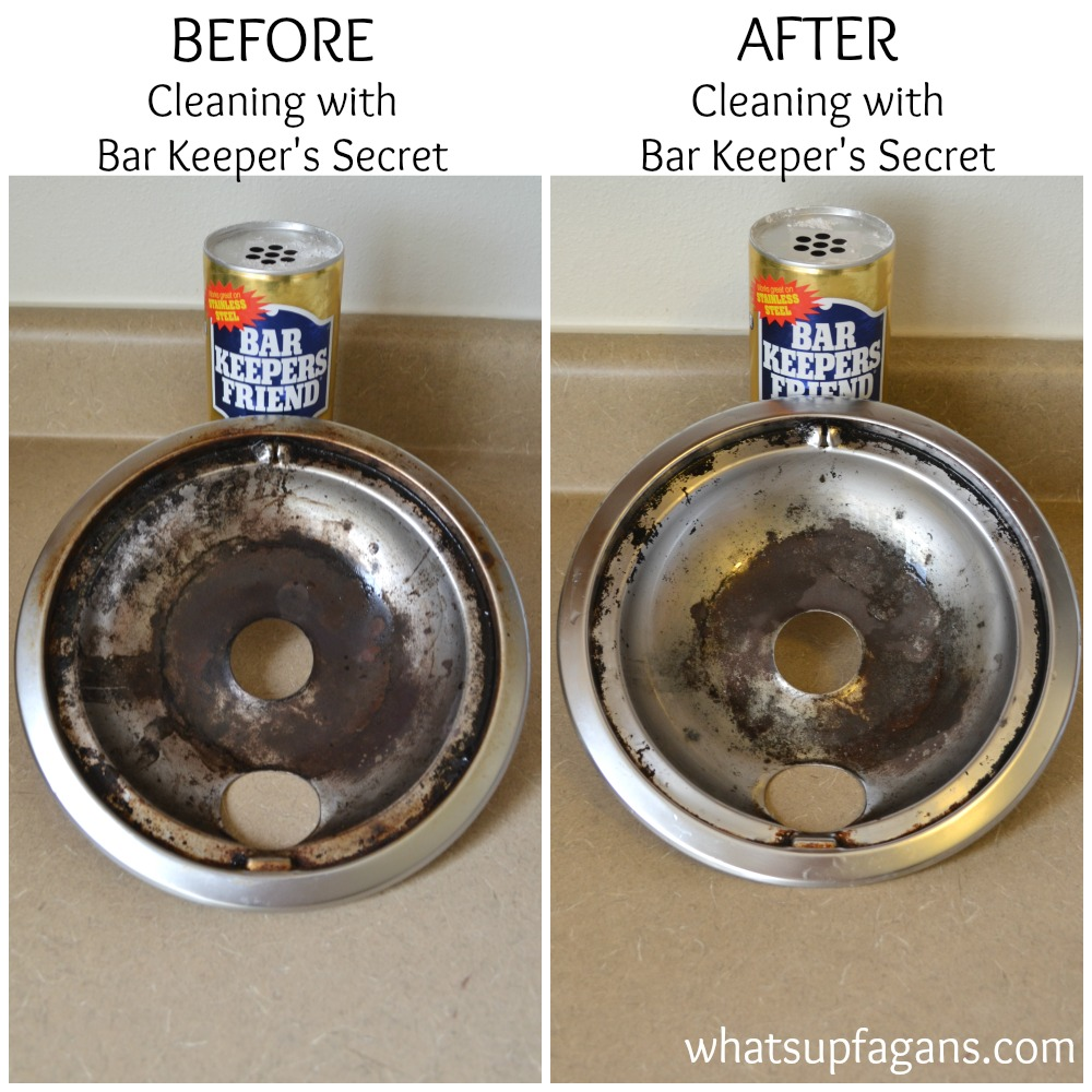 Before and After: Cleaning stove burner drip pans with Bar Keeper's Friend. | whatsupfagans.com