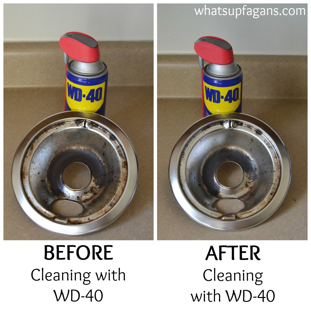Before and After: Cleaning stove drip pans with WD-40 | whatsupfagans.com