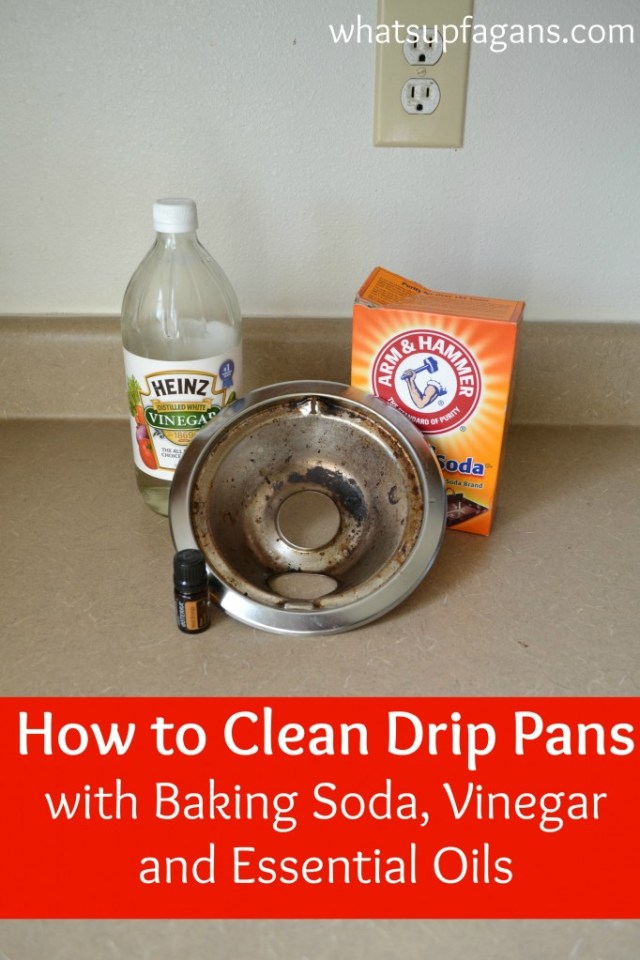 A tutorial on how to clean stove drip pans with baking soda, vinegar, and essential oils. It works! | whatsupfagans.com