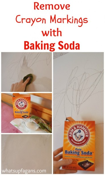 Great tutorial on how to use baking soda to remove crayon from walls. Plus, some other helpful methods to try. | whatsupfagans.com