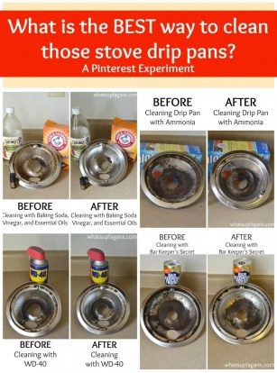 A pinterest experiment - What really is the BEST way to clean stove drip pans? What methods work better than others? Come find out! | whatsupfagans.com