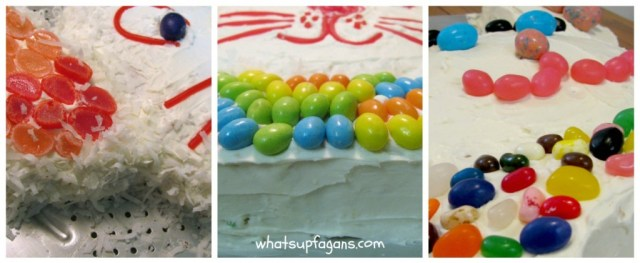 I love all the different ways you can decorate an Easter bunny cake - coconut, jelly beans, Robin's eggs, licorice, and more!   whatsupfagans.com