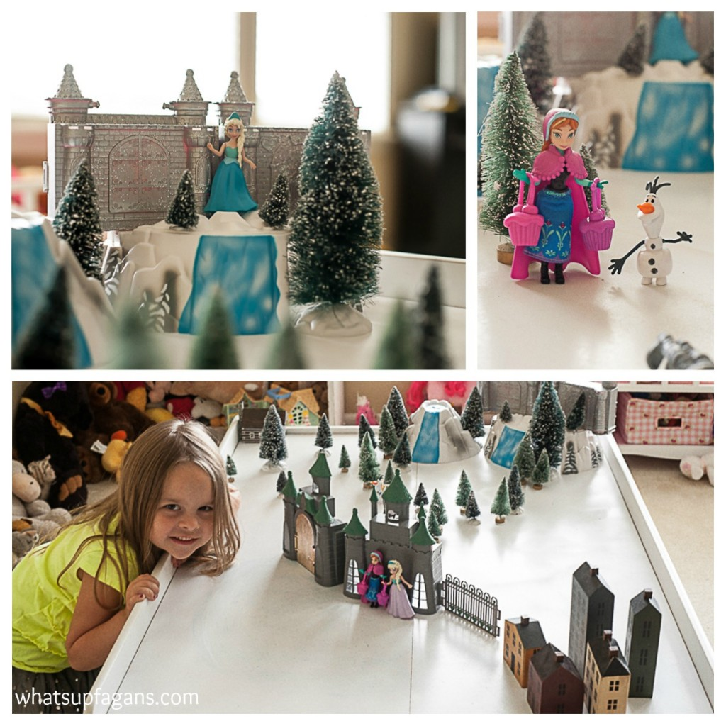 DIY upcycle a train table to a Disney Frozen's Playset playscape