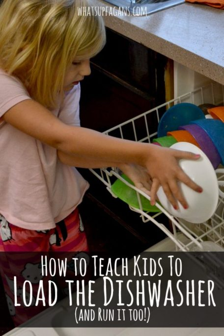 Teach kids how to load the dishwasher and load it too with a few simple tips.