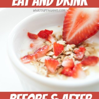 A great list of food to eat before and after a workout, as well as what to drink before and after exercising.