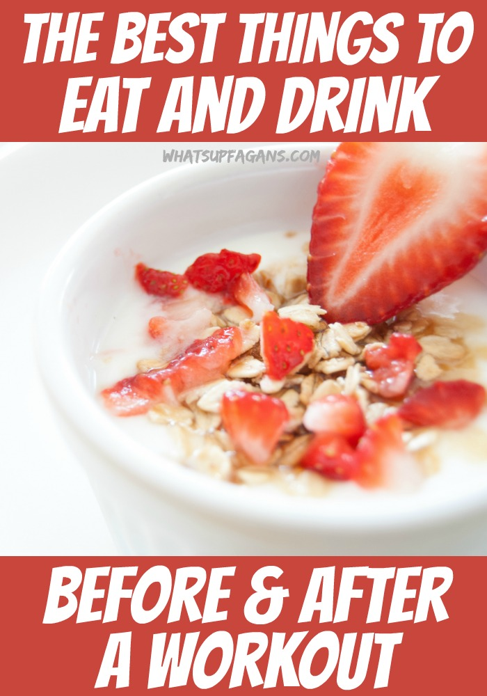 A great list of healthy foods to eat before and after a workout, as well as what to drink before and after exercising.
