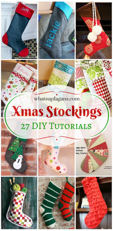 27 Awesome Homemade DIY Christmas Stockings for beginners on up! I love handmade stockings.