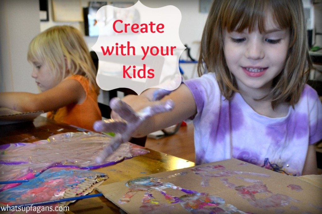 Don't just set up craft time or art time with your kids. Do it with them! They will think you are a totally awesome mom.