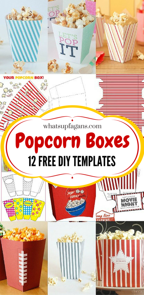 12 DIY Popcorn Box Template Free Printables