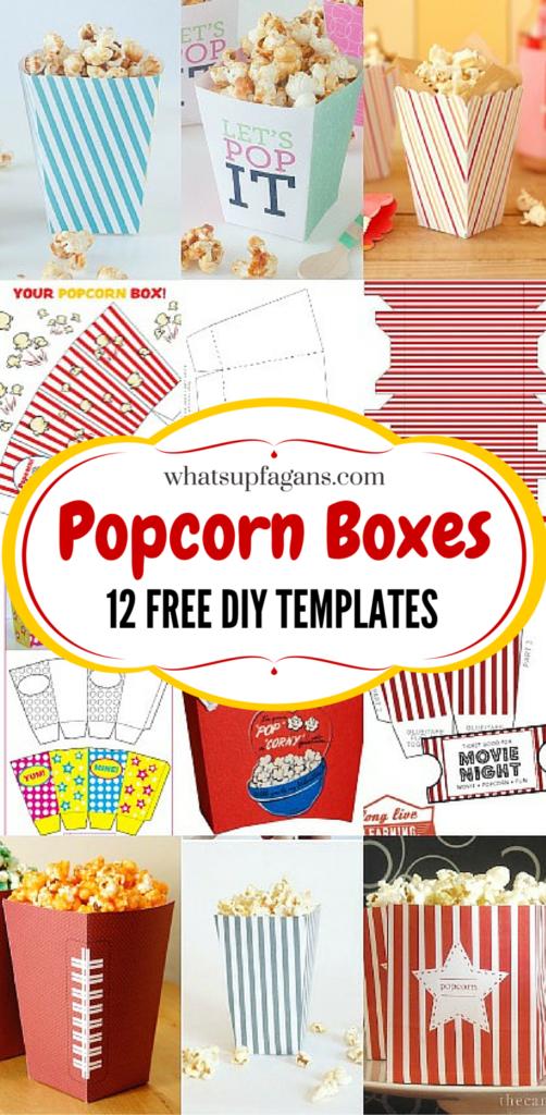 12 DIY Popcorn Box Template Free Printables