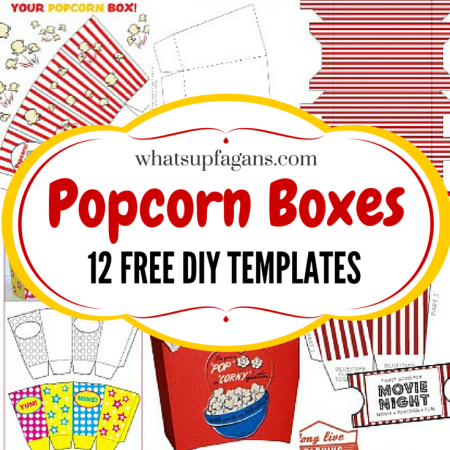 I love popcorn boxes! What a great list of free printable template popcorn boxes so I can DIY and get my craft on (and save money and not have to run to a store!).