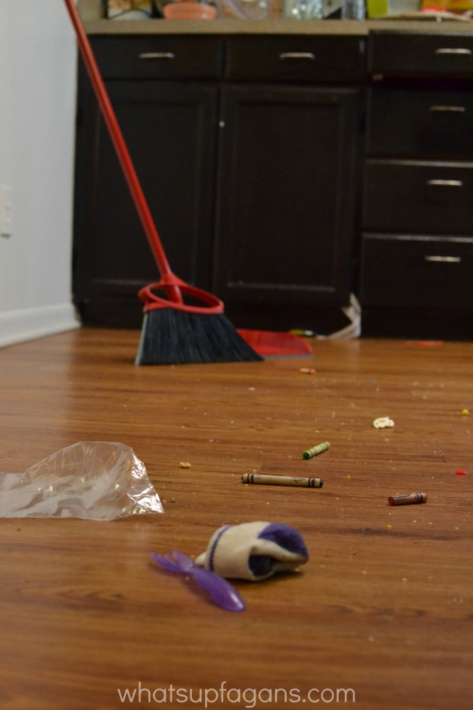 Use the O-Cedar Angler broom and better see your beautiful mess as a parent.