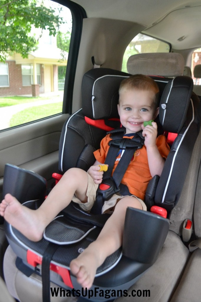This Evenflo car seat goes from a 5-Point Harness to a backed booster to a backless booster! It's the Evenflo Advanced Transitions 3-in-1 Booster.