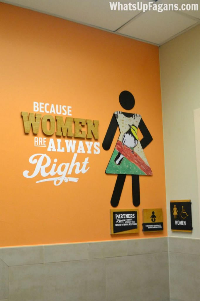 HEB gets it! Awesome womens bathroom signage!