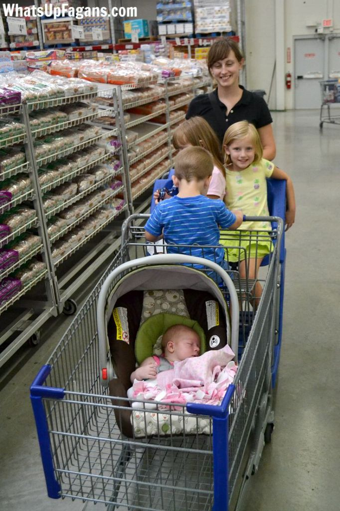 Sam's Club is awesome for large families to go shopping at because of the HUGE carts!